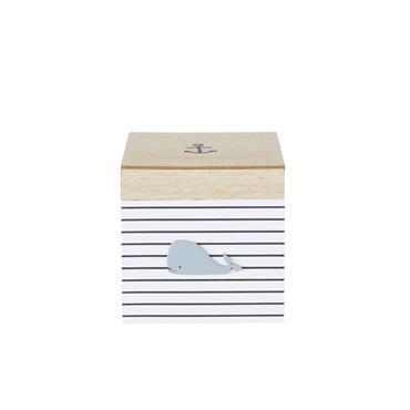 Boîte de rangement bicolore motifs à rayures