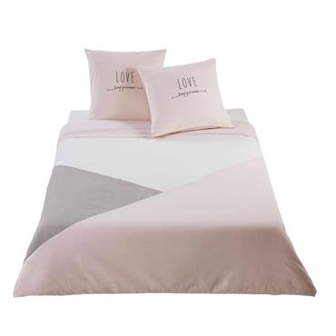 Parure de lit en coton gris et rose 220x240cm JOY