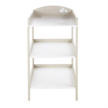 Table à langer blanche et taupe 3 plateaux Bulle