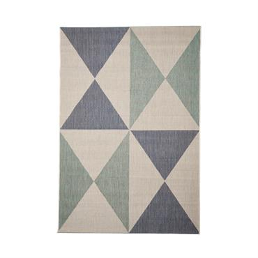 Tapis géométrique scandinave en polypropylène bleu clair 160x230