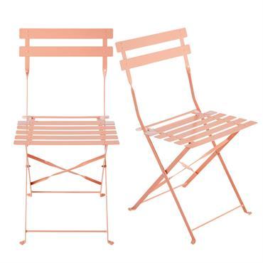 2 chaises pliantes de jardin en métal rose Confetti