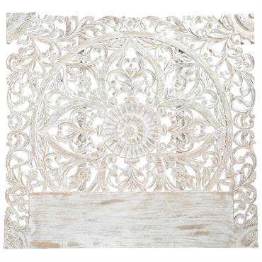 Tête de lit 140 en manguier massif sculpté blanc Kerala
