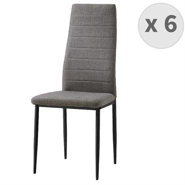 ANNA-chaise de salle à manger tissu gris pieds noir