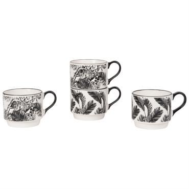 4 tasses en faïence blanche imprimé tropical noir