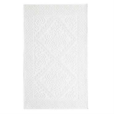 Tapis de bain en coton noué blanc 65x100