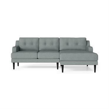 Canapé d'angle droit 4 places toucher lin menthe