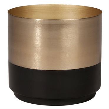 Cache-pot en acier noir et doré H14