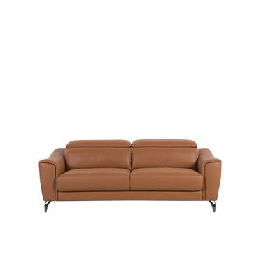 Canapé 3 places en cuir marron doré