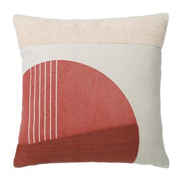 Coussin en coton écru à motifs orange et roses 45x45