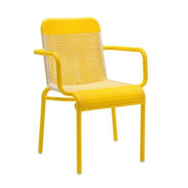 Fauteuil de table de jardin en résine jaune citron