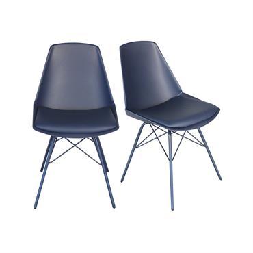 2 chaises design - pieds métal Bleu