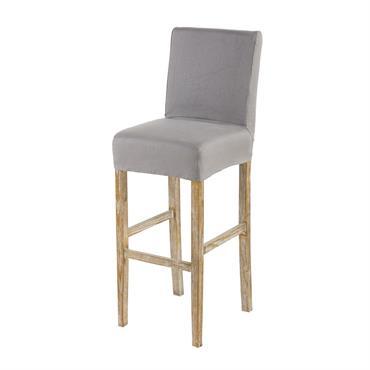 Housse de chaise de bar en lin gris