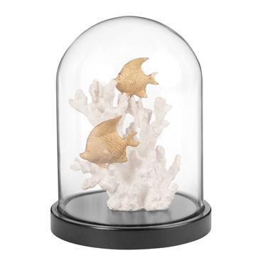 Statuette décor sous-marin sous cloche en verre H18
