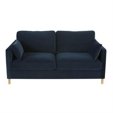 Canapé-lit 3 places en velours bleu nuit