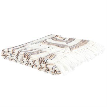 Plaid en coton tissé motif à rayures et franges 180x240