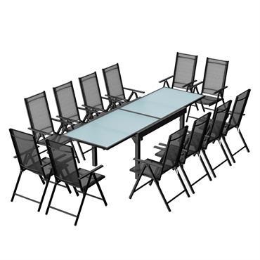 Table de jardin extensible 12 fauteuils en alu et textilène