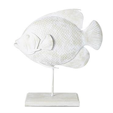 Statue poisson blanche H48