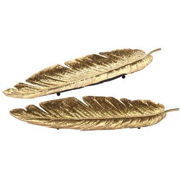 2 vide-poches plume en métal doré FLORILEGE