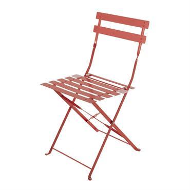 2 chaises pliantes de jardin en métal rouge framboise Confetti