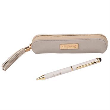 Coffre trousse beige et stylo à bille blanc