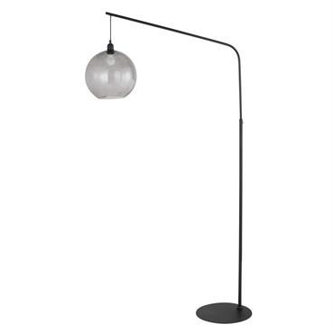 Lampadaire en métal noir et verre fumé H188