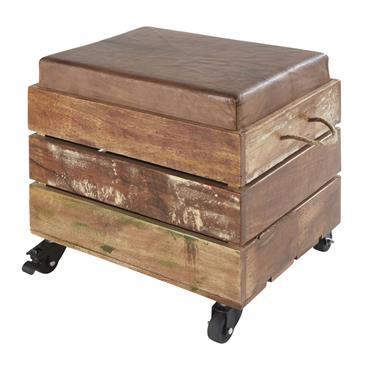 Tabouret coffre en bois recyclé et cuir de chèvre marron