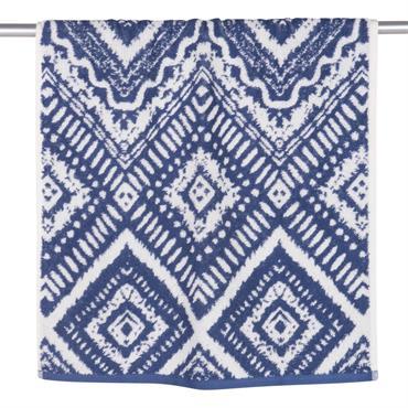 Serviette en coton bleu motifs graphiques 50x100