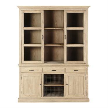 Un peu d'authenticité avec le vaisselier 4 portes 3 tiroirs en pin recyclé VALMONT ! Fabriqué en bois vieilli, ce meuble éco-conçu affiche un look brut grâce à ses irrégularités ...