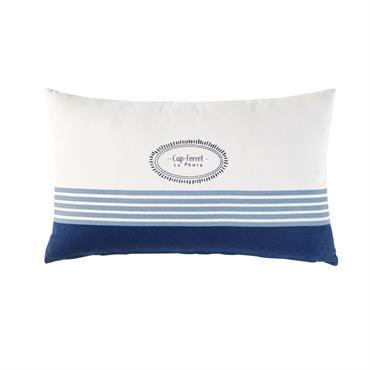 Coussin d'extérieur en coton écru motifs bleus 30x50