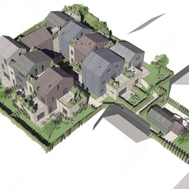 Programme : 9 maisons individuelles , BBC Lieu : Bagneux Maître d'ouvrage : Promotion privée Mission : Complète Avancement : Permis de construire obtenu SHON ... Domozoom