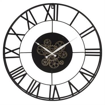 Horloge perpétuelle à rouages en métal noir D70
