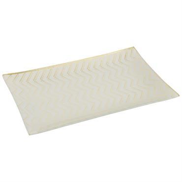 Vide-poches en verre motifs zigzags dorés