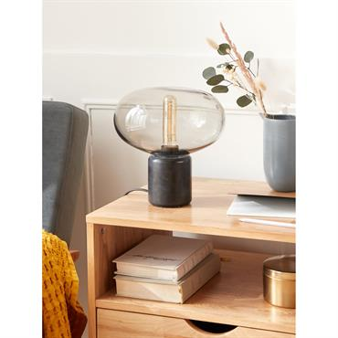 Lampe globe verre et marbre noir