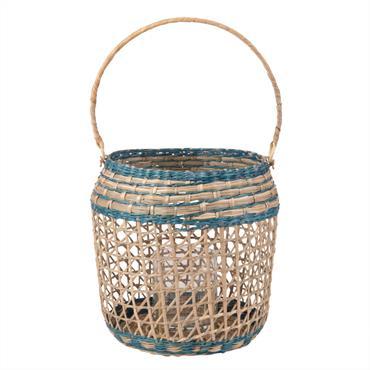 Lanterne en fibre végétale coloris naturel et bleu