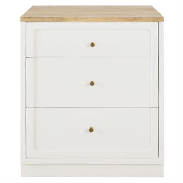 Meuble bas de cuisine 3 tiroirs en manguier massif blanc L80 Cezanne