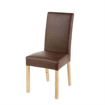 Housse de chaise en microsuède marron 41x70