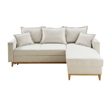 Canapé d'angle convertible 4 places beige Duke