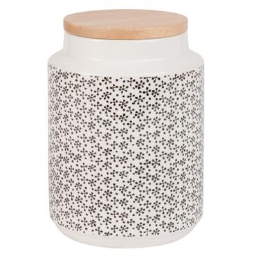 Pot en faïence à motifs avec couvercle en bambou H18