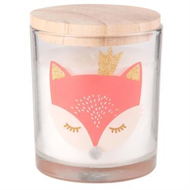 Bougie de Noël avec couvercle en verre imprimé renard