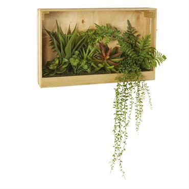 Déco murale en paulownia avec plantes artificielles