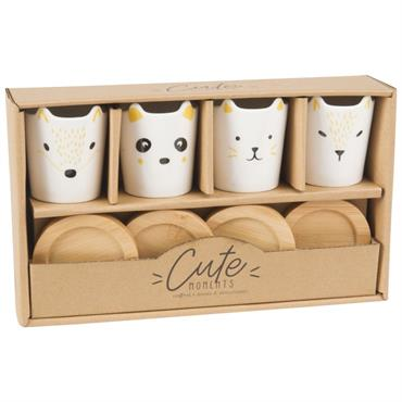 Coffret 4 tasses et soucoupes animaux en porcelaine