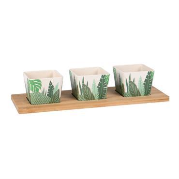 Plateau apéritif en bambou 3 coupelles blanches imprimé feuilles