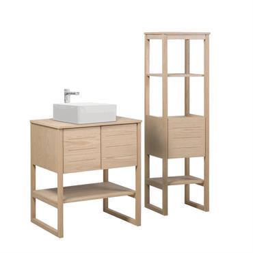 Meuble de salle de bain avec Vasque et Colonne effet bois clair