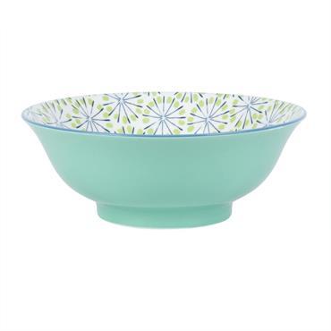 Plat en porcelaine verte motifs graphiques
