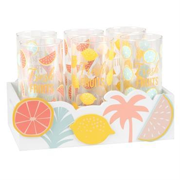 Support fruits d'été avec 6 verres imprimés