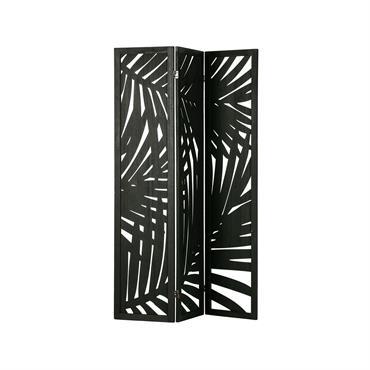 Paravent exotique en bois mélangé noir