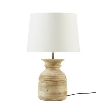 Lampe en manguier et abat-jour coloris lin grisé