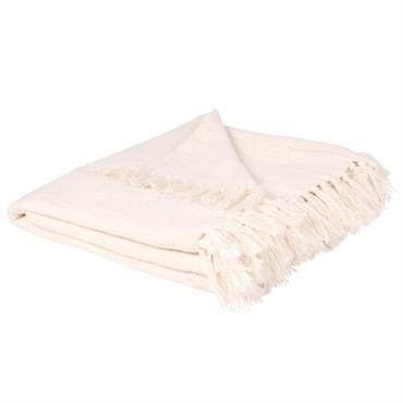 Plaid en coton à franges écru 160x210