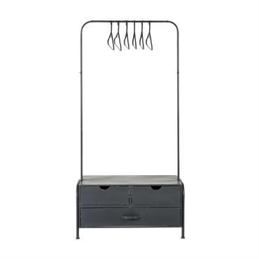 Portant 3 tiroirs en métal noir avec 6 cintres
