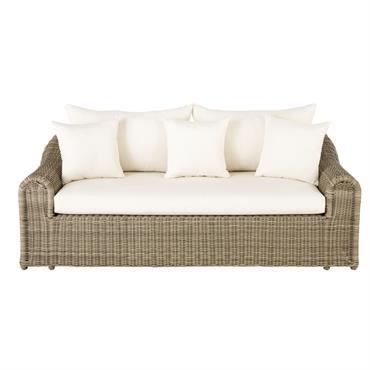Canapé de jardin 3 places en résine tressée et toile écrue Mimizan